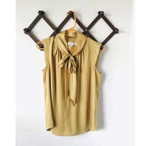 Mustard Tie Front Blouse